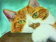 Cat Drawings Prints - Orange Girl Print by Teresa Vecere