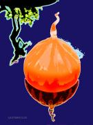 Glass Digital Art Originals - Orange Globe by John Lautermilch