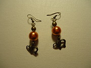 Silver Earrings Jewelry Metal Prints - Orange Gold Elephant Earrings Metal Print by Jenna Green