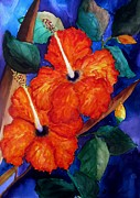 Perennials Painting Posters - Orange Hibiscus Poster by Lil Taylor