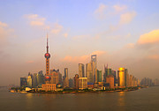Communications Tower Prints - Orange Hour At Pudong Print by Tom Horton, Further To Fly Photography