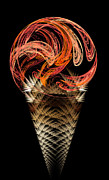 Dessert Digital Art - Orange Ice Cream Cone by Andee Photography