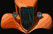 Samuel Sheats Posters - Orange Jalopy Poster by Samuel Sheats