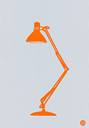 Desk Digital Art Prints - Orange Lamp Print by Irina  March