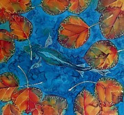 Orange Tapestries - Textiles Metal Prints - Orange Leaves and Fish Metal Print by Carolyn Doe
