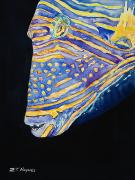 Triggerfish Painting Posters - Orange-lined Trigger Poster by Tanya L Haynes - Printscapes