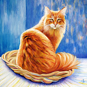 Chat Posters - Orange Maine Coon Cat Portrait Poster by Denise Laurent