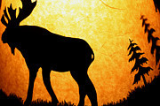 Deer Silhouette Digital Art - Orange Moose by Steven Nahaj