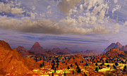 Terragen Posters - Orange Mountains Poster by H h  Bonaparte