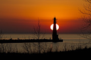 Light House Prints - Orange Muskegon Sunset Print by Joe Gee