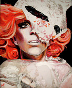 Lady Gaga Painting Posters - Orange Poster by Nicholette  Haigler