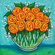 Blue Vase Painting Posters - Orange Passion Poster by Lisa  Lorenz