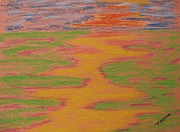 River Scenes Pastels Prints - Orange Passion Print by Tom Nettles
