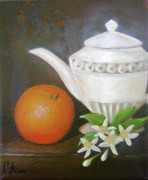 Teapot Paintings - Orange Pekoe by Colleen Brown
