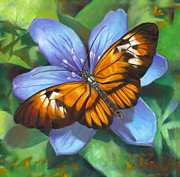 Blend Painting Prints - Orange Piano Key Butterfly Print by Nancy Tilles
