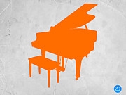 Vintage Music Player Prints - Orange Piano Print by Irina  March