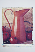 Red Fruits Framed Prints - Orange pitcher and tomatoes Framed Print by Garry Gay