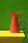Pitcher Metal Prints - Orange pitcher Metal Print by Garry Gay