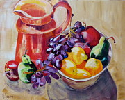 Pitcher Painting Originals - Orange Pitcher with Fruit by Suzanne Willis