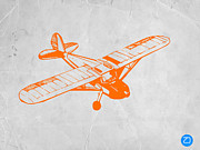 Kids Prints Metal Prints - Orange Plane 2 Metal Print by Irina  March