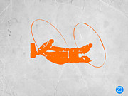 Helicopter Digital Art Prints - Orange Plane Print by Irina  March