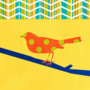 Green Yellow Posters - Orange Polka Dot Bird Poster by Linda Woods