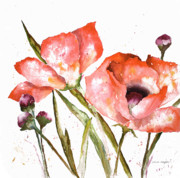Orange Poppy Paintings - Orange Poppies by Arline Wagner