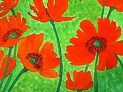 Poppies Field Paintings - Orange Poppies by Berta Barocio-Sullivan