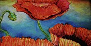 Large Pastels Metal Prints - Orange Poppies-detail Metal Print by Emily Michaud