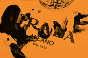 Splat Posters - Orange Prada Poster by Lisa Eryn