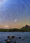 Stars Trail Posters - Orange River Star Trail Poster by Basie Van Zyl