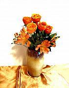 Orange Rose Bouquet Print by Marsha Heiken