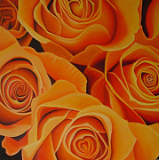Orange Roses Print by Ria Van Meijeren