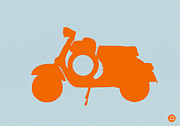 Italian Classic Car Framed Prints - Orange Scooter Framed Print by Irina  March