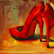 Wine Gallery Art Paintings - Orange Shoes by Penelope Moore
