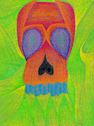 Cubism Drawings Posters - Orange Skull Poster by Jera Sky