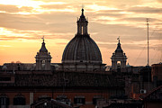 Unique View Prints - Orange Sky in Rome Print by John Rizzuto