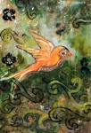 Distressed Mixed Media - Orange Sparrow - Miniature Art by Jennifer Kelly