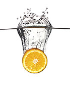 Orange Posters - Orange Splash In Water Poster by Gualtiero Boffi