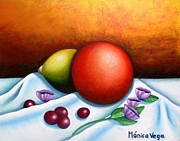 Table Cloth Posters - Orange Still Life  Poster by Monica  Vega