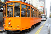 Market Street Photos - Orange Streetcar on Market Street in San Francisco . 7D9740 by Wingsdomain Art and Photography