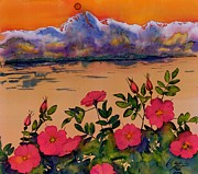 Sun Tapestries - Textiles Prints - Orange Sun over Wild Roses Print by Carolyn Doe