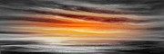 Sunset Posters Painting Framed Prints - Orange Sunset - Panoramic Framed Print by Gina De Gorna
