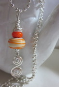 Colorful Abstract Jewelry - Orange Swirl Necklace by Janet  Telander