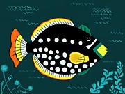 Barbara Drake Posters - Orange Tail Polka-Dot Yellow Nose Snap Fish Poster by Barbara Drake