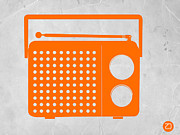 Iconic Design Drawings Posters - Orange Transistor Radio Poster by Irina  March