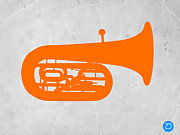 Vintage Music Player Prints - Orange Tuba Print by Irina  March