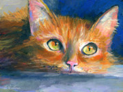 Cute Cat Drawings Prints - Orange Tubby Cat painting Print by Svetlana Novikova