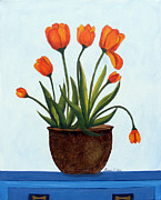 Buffet Posters - Orange Tulips on a Blue Buffet Poster by Barbara Griffin