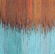 Kate Tesch Art - Orange Turquoise  by Kate Tesch